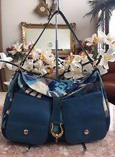 Kate Spade New York Blue Multi-color Floral Canvas Leather Hobo Shoulder Bag