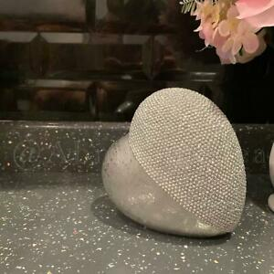 Silver Ceramic 3D Bling Diamante Effect Heart Sculpture Ornament Free Standing