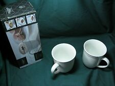 SET OF 2! CIROA CHEF's COLLECTION EMBOSSED WHITE TEA/COFFEE MUGS! NEW! 12 fl oz!