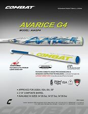 "Combat Avarice G4 USSSA Slow Pitch Softball Bat AVASP4 34"" / 27.5 oz CLOSE OUT"