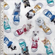 Cats kittens in sneakers on off-white quilting fabric ~ per 1/2 METRE