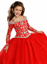 In Stock Girls Pageant Dresses With Long Sleeve Ball Gowns Size 6 8 10 12