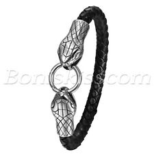 Men's Punk Briaded Leather Stainless Steel Snake Head Ring Clasp Bracelet Bangle