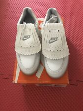 Vintage NIKE FALLBROOK White Leather Spiked Golf Shoes Cleats Mens Size 9.5