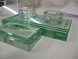 Antique 1900s Sengbusch MOD GLASS INKWELL DESK SET Ink Stand Heavy GREEN Glass