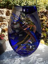 DAN BERGSMA Contemporary Signed Flat Art Glass Vase ~Blue Multi with Iridescence