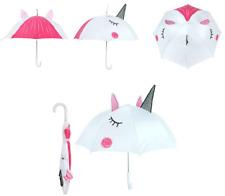 3D UNICORN UMBRELLA Kids, Child's, Pink, Silver, White , Sun, Rain, Girls New