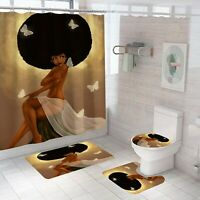 African Girl Bathroom Rug Set Shower Curtain Thick Toilet Lid Cover Bath Mat