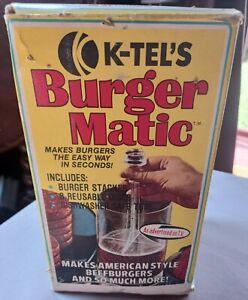 K-TEL'S BURGER MATIC BURGER MAKER PRESS VINTAGE 1976 USA 28 REUSABLE DISCS RARE