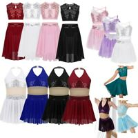 Girls Sequins Lyrical Two Piece Dance Costume Ballet Leotard Latin Skating Dress