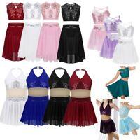 Girls Sequins Lyrical Two Piece Dance Costume Ballet Leotard Latin Skating Dress