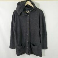 CT ME Women's Fall Grey 100% Lambs Wool Hooded Button Down Sweater Medium NWT