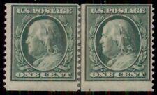 US #387 1¢ green, Coil Guide Line Pair, og, hinged, F/VF, Miller certificate