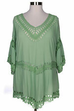 DENIM 24/7 WOMEN'S GREEN 3/4 SLEEVE W/ CROCHET LACE TRIM TUNIC PLUS Sz 32W