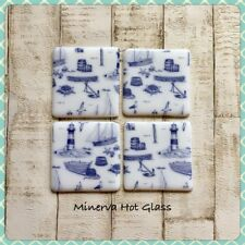 Fused Glass Coaster, Blue Nautical, Drinks Coaster - By Minerva Hot Glass