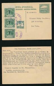 SALVADOR 1947 STATIONERY CARD UPRATED to CLINTON STAMP CO NY re ROOSEVELT ISSUE
