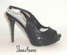 Women's Prom High Heels, N by Nicole Miller, Glitter Demi Black Size 8 M  US.