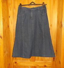 COTTON TRADERS mid dark blue stretch denim midi calf long flare jeans skirt 14