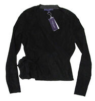 $2,898 Ralph Lauren Purple Label Womens Italy Black Suede Leather Silk Jacket