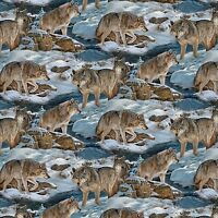 Wild Wings Narragansett Creek Wolves Snowy Pine Scenic Cotton Fabric Fat Quarter