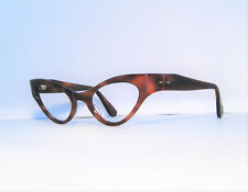 11baa0bed1 TRUE VINTAGE SHINY AMBER HAVANA CATEYE EYEGLASS FRAMES DEADSTOCK NOS  BEAUTIFUL