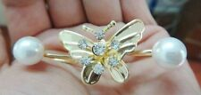 COOL THREE JOINT 11MM SOUTH SEA WHITE PEARL ROSE GOLD VERMEIL BUTTERFLY RINGS