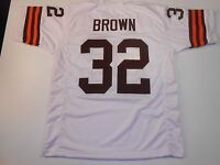 UNSIGNED CUSTOM Sewn Stitched Jim Brown White Jersey - M, L, XL, 2XL