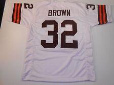 UNSIGNED CUSTOM Sewn Stitched Jim Brown White Jersey - M, L, XL, 2XL