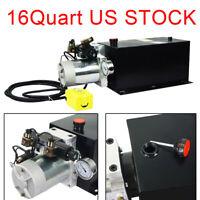 16 Quart Double Hydraulic Pump Acting DC12V Hydraulic Power Unit 3200 PSI Max.