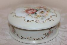 "Vintage Limoges Porcelain Trinket Box, Hand Painted Flowers, 5-1/2"" x 1-3/4"""