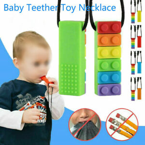 1Pcs Rainbow Baby Brick Chew Necklace Silicone Teether Autism Sensory Chewy Toys