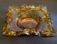 """Amber Glass Ashtray Controlled Bubbles Heavy Art Glass 9"""" Vintage Mid Century"""