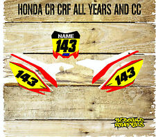 HONDA CR CRF 85 125 150 250 450 NUMBER BOARDS-BACKGROUNDS-GRAPHICS-STICKERS-MX 8