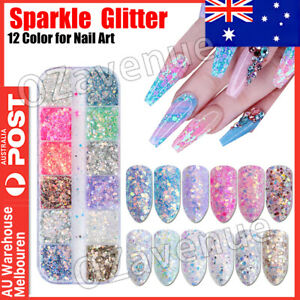 New 12 Color Holographic Nail Sequins Glitter Flakes Sparkle Confetti Art Decal