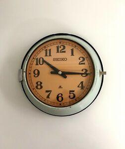 Vintage Original Retro Industrial Super Tanker Ship's Slave Seiko Wall Clock