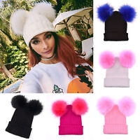 Women Winter Pompom Beanie Faux Fur Knitted Hat Slouchy Ski Crochet Bobble Cap