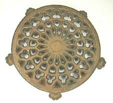 """Vintage Cast Iron Claw Foot Metal Round Trivet-Gold Paint-Marked-4 5/8"""" Across"""