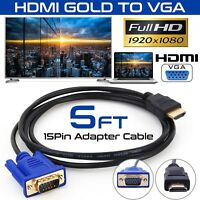 HDMI Gold Male To VGA HD-15 Male 15Pin Adapter Cable 5FT 1.5M 1080P USA Stock!!!