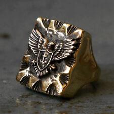 Mexican Biker Ring Skull silver Vintage brass anchor Navy world war Eagles army