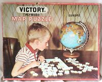 Vintage Victory Wooden Jigsaw Puzzle Map Europe 1973 Plywood Spears & Son 70s