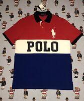 Polo Ralph Lauren Big Pony Spell Out Colorblock Mesh Polo Shirt NWT Men's Medium