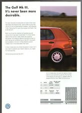 Volkswagen Golf CL & GTi Final Edition Mk3 1998 UK Market Foldout Sales Brochure