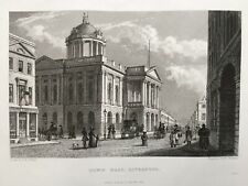 1836 Antique Print: Town Hall, Liverpool after Pyne