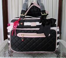 Betsey Johnson Baby Diaper Bag Tote Striped Weekender Travel Carry on Blush NWT