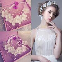 Flowers Pearl Tiara Bridal Wedding Party Crown Headdress Headband Floral Hair