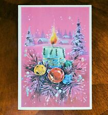 Vintage UNUSED GLITTER Christmas Card ALFRED MAINZER PINK CANDLE Village ENGLAND