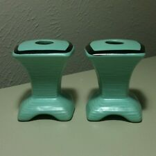 """Vintage Mid Century Turquoise & Black Pottery Candle Holders 3.25"""""""