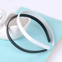 10 Mixed Plastic Headband Covered Satin Women Hair Band 9mm for DIY Craft Accs