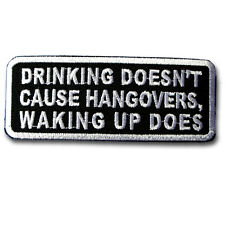 Drinking Doesn't Patch Iron on Biker Harley Badge Text Saying Funny Race Sew MC