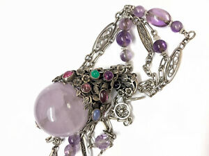 Antique Arts & Crafts Large Silver Gemstone Pendant Sautoir Chain Necklace